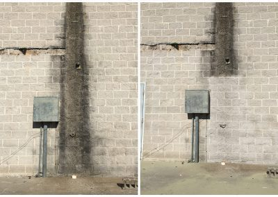 Cleaning drainage stains with sandblasting