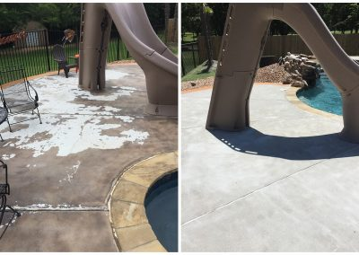 cleaning flaking concrete stains with sandblasting