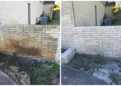 cleaning bricks before and after with sandblasting