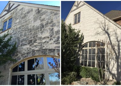 Cleaning stone facade like new before and after pictures Oklahoma and Texas