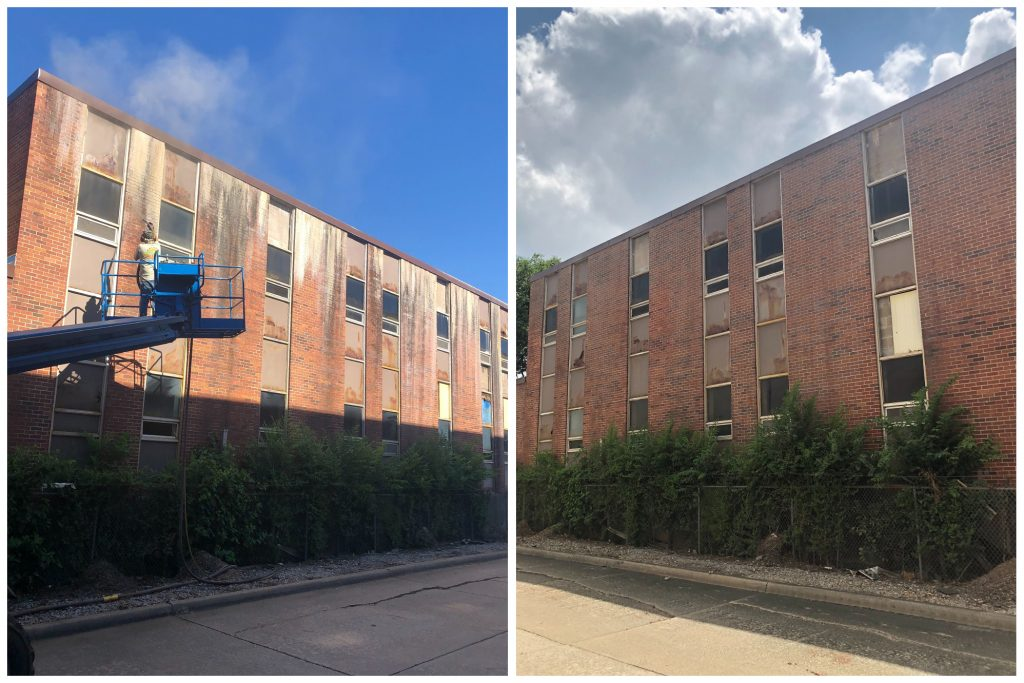 cleaning outer wall of building with sandblasting before and after