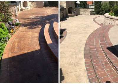 Clear STained Concrete with Sandblasting in OK and TX before and after pictures