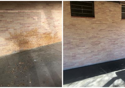 clear stains from brick walls with sandblasting