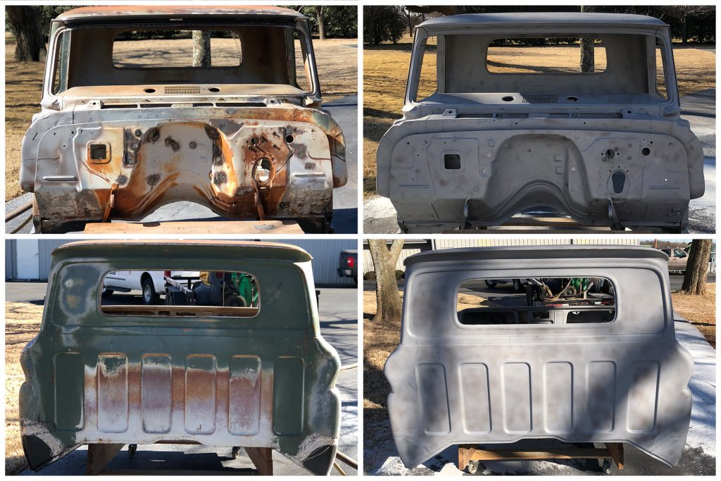 media blasting on old truck before and after pictures how to get rust off metal