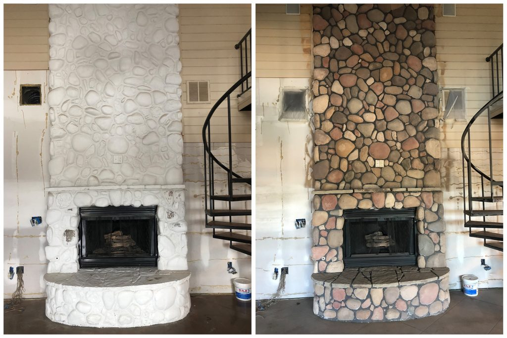 Remove Paint from stone with sandblastiing before and after pictures