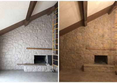 Remove paint from stone with sandblasting before and after pictures