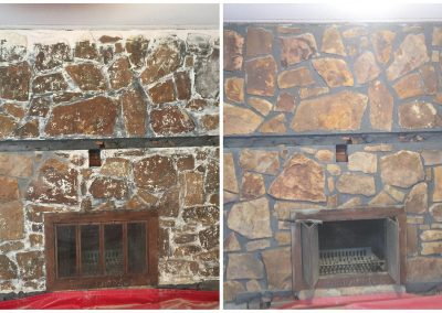 Remove Paint from Stone Fireplace before and after pictures