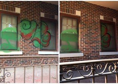Remove Graffiti from Bricks with Sandblasting before and after pictures